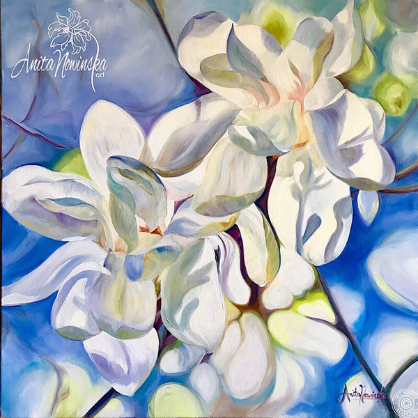 Bring me Peace- White Magnolias- Big Flower Painting- original oil on canvas