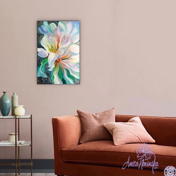 Magnolia Flower Painting in Oil on canvas in teal, white, pink, blue, wall decor