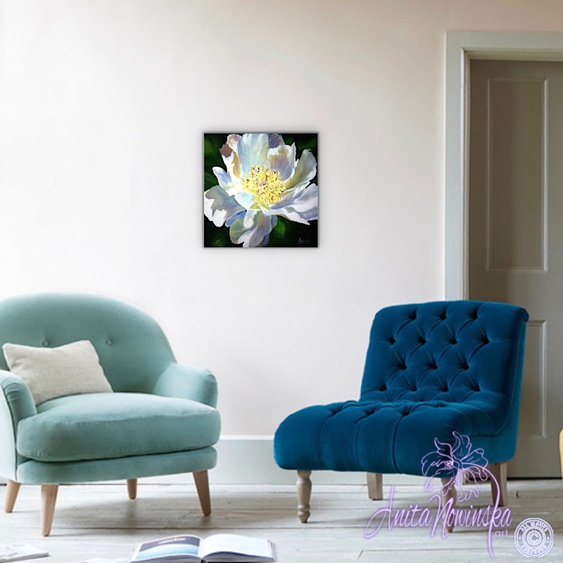 flower painting on small canvas of white peony by anit anowinska