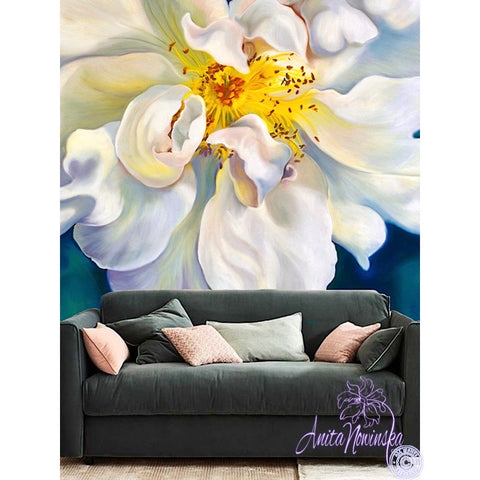 White Rose designer floral wallpaper mural by Anita Nowinska
