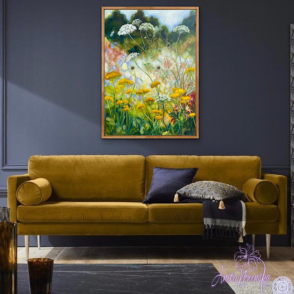 wild flower garden painting 'grwth' by anita nowinska in room with dark grey walls & gold sofa, green, yellow & blue colours