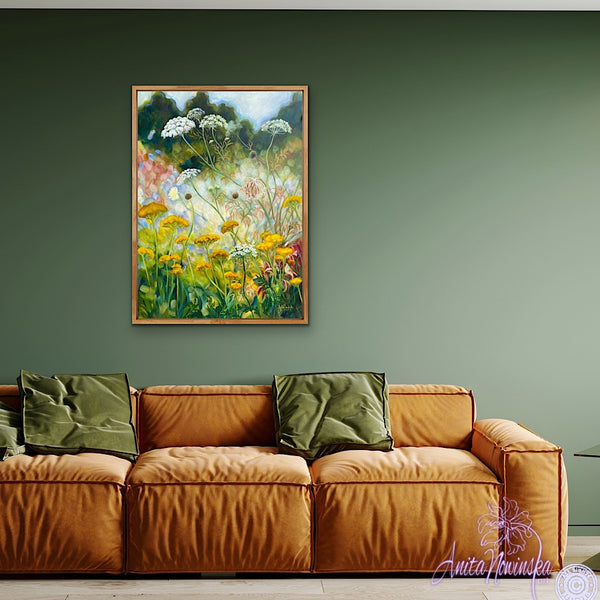 wild garden painting by anita nowinska in room with green walls, yellow, gold & white colours