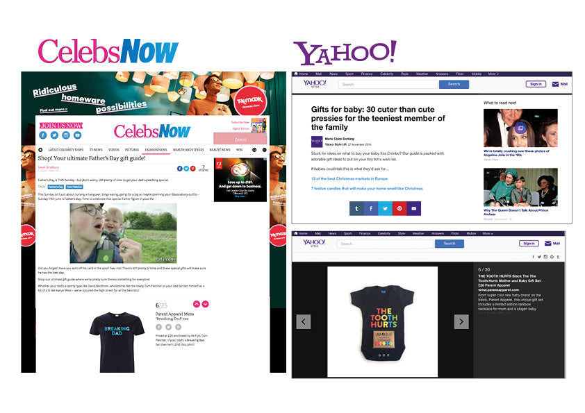Parent Apparel Press and PR NOW and Yahoo