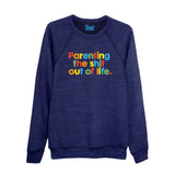 MOTHER PUKKA Parenting the Sh*t Out of Life Unisex super soft sweatshirt navy - Parent Apparel Ltd