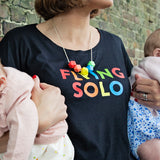 Flying Solo Rolled Sleeved Women's T-Shirt (White or Black) - Parent Apparel Ltd - 2