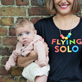 Flying Solo Rolled Sleeved Women's T-Shirt (White or Black) - Parent Apparel Ltd - 3