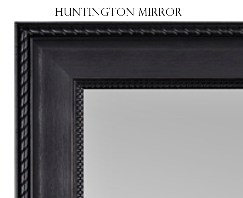 "Huntington- Black roped design, Large 33.5"" x 27.5"" - Personalized Mirror - Family Crest Mirrors"