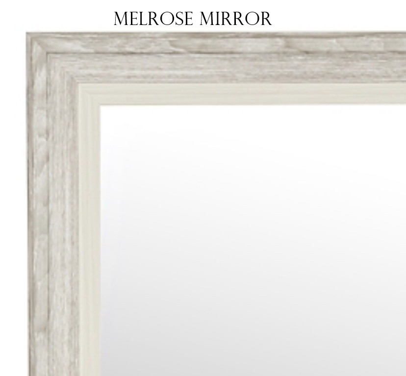 Melrose Mirror- Rustic Wood Light Gray - Personalized Mirror - Family Crest Mirrors