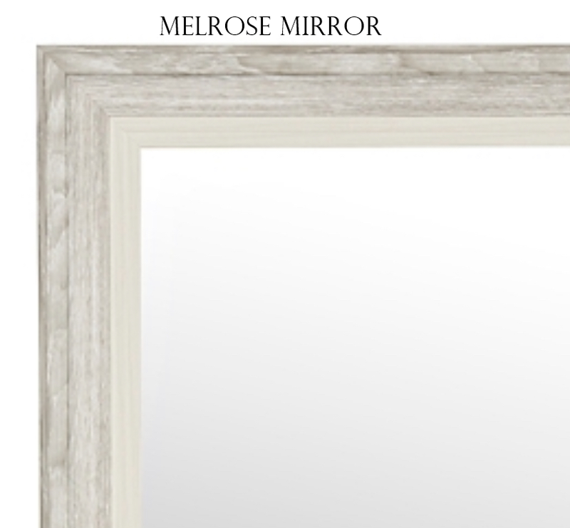 "Melrose- Rustic Wood Light Gray, Large 33.5""x27.5"" - Personalized Mirror - Family Crest Mirrors"