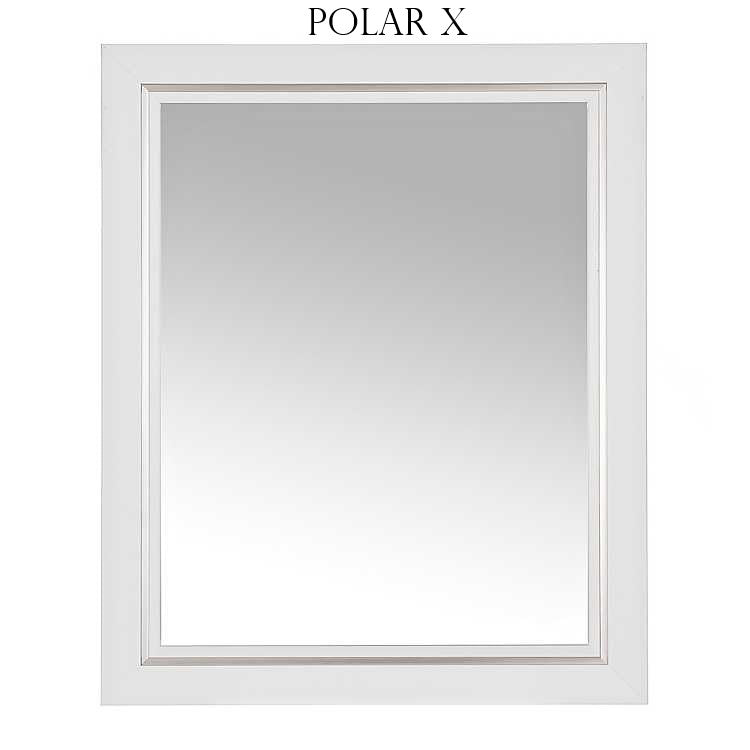 "Polar X- White with a silver lining, Large 33.5"" x 27.5"" - Personalized Mirror - Family Crest Mirrors"