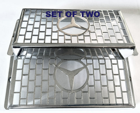 2 NEW GENUINE MERCEDES CHROME EMBLEM GRILLE SCREEN FRONT FOG LIGHT LAMP GUARD R107 280SL 280SLC 350SL 350SLC 500SL 500SLC 450SEL 6.9 450SE 450SEL 450SL 450SLC 450SLC 5.0 380SL 380SLC 560SL