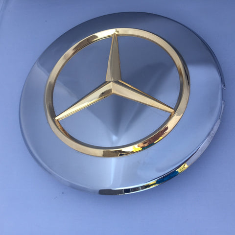 CHROME COVER WITH THE GOLD LOGO MERCEDES STAR,  WHEEL LUG BOLTS NEW GENUINE MERCEDES BENZ R107 560SL W126 300SDL 300SE 300SEL 350SD 350SDL 420SEL 560SEC 560SEL