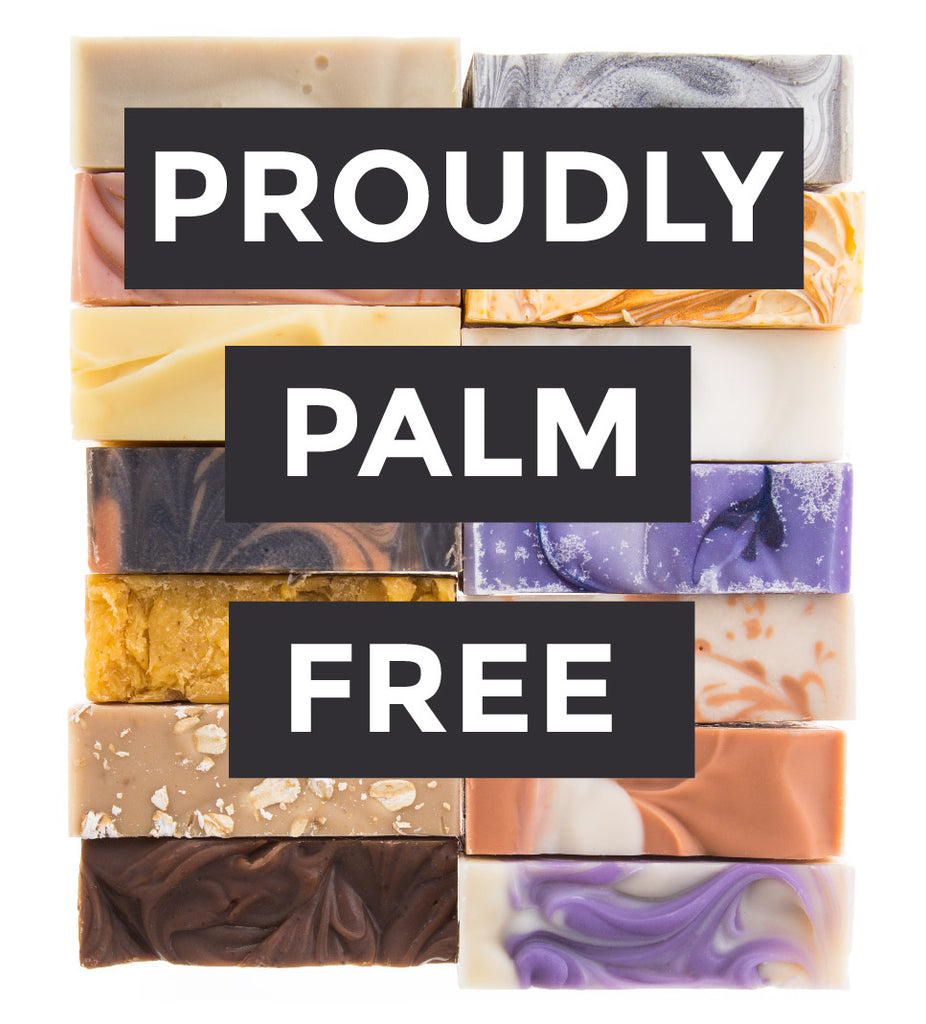 "Many bar soaps with text ""proudly palm free"""