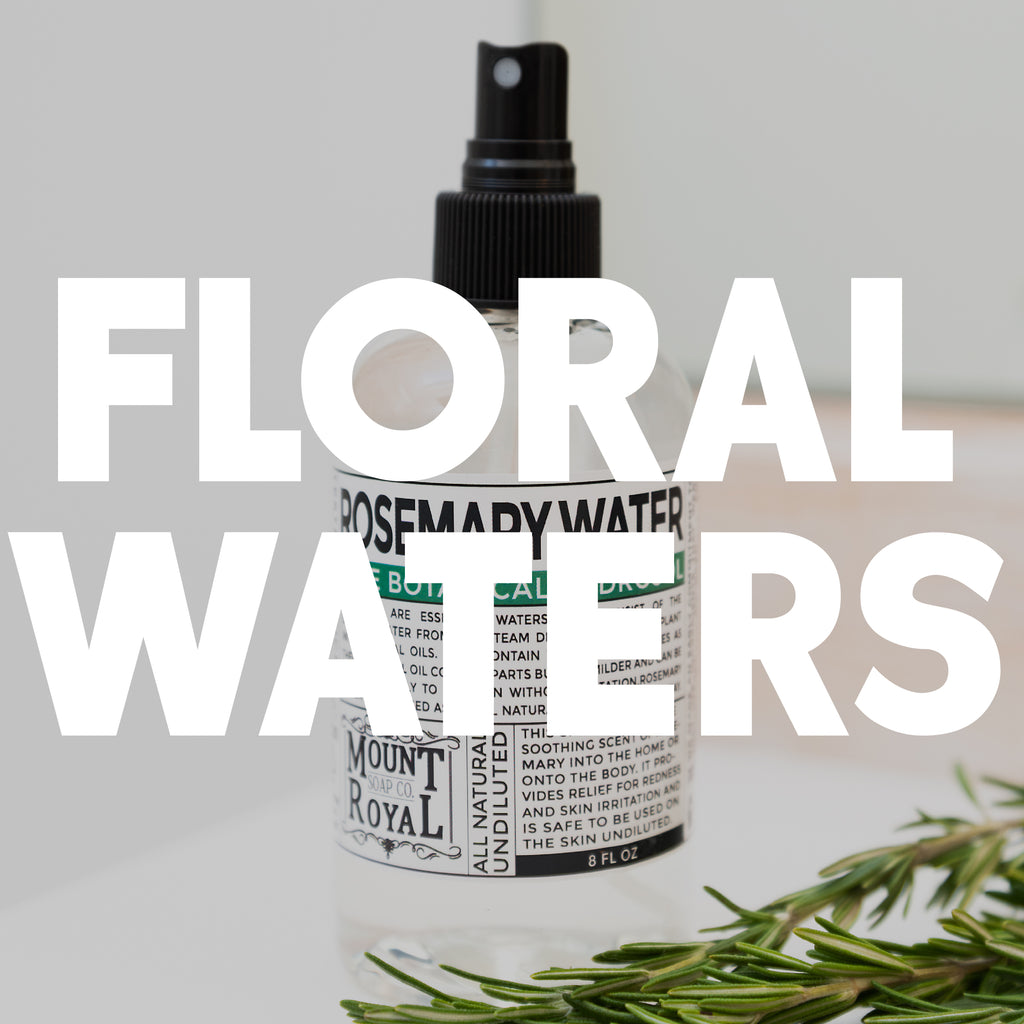 "Clear rosemary water in spray bottle with what ""floral waters"" text."