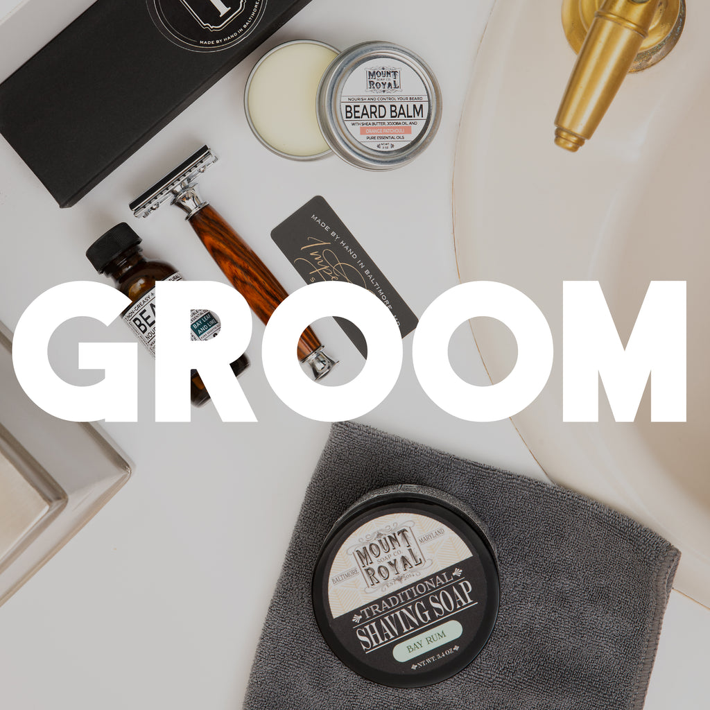 "Beard balm, shaving soap, oil, and razor in front of white ""groom"" text."