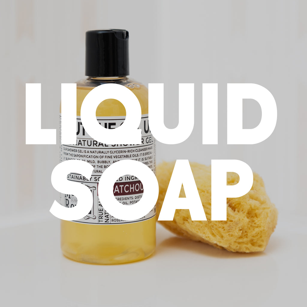 "Yellow liquid soap in front of white ""liquid soap"" text."