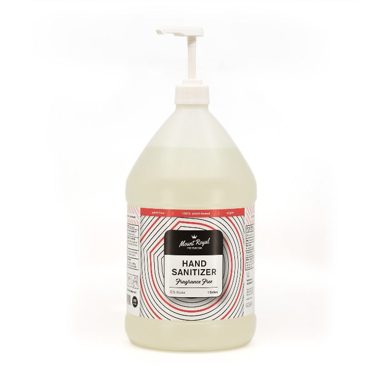 Gallon jug of off-white color hand sanitizer with pump on top.