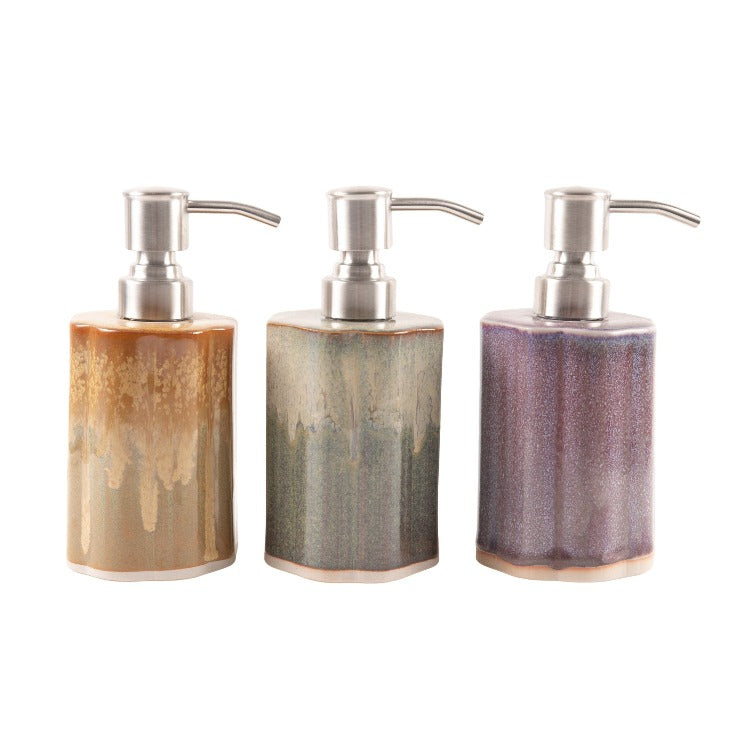 3 multiple colored ceramic soap containers with pumps