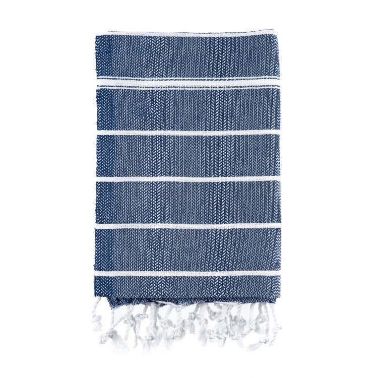 Blue and white striped hand towel.