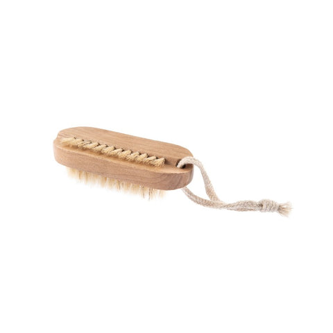 Wooden nail brush with a strap and golden bristles.