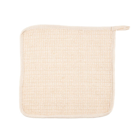 Tan ramie wash cloth.