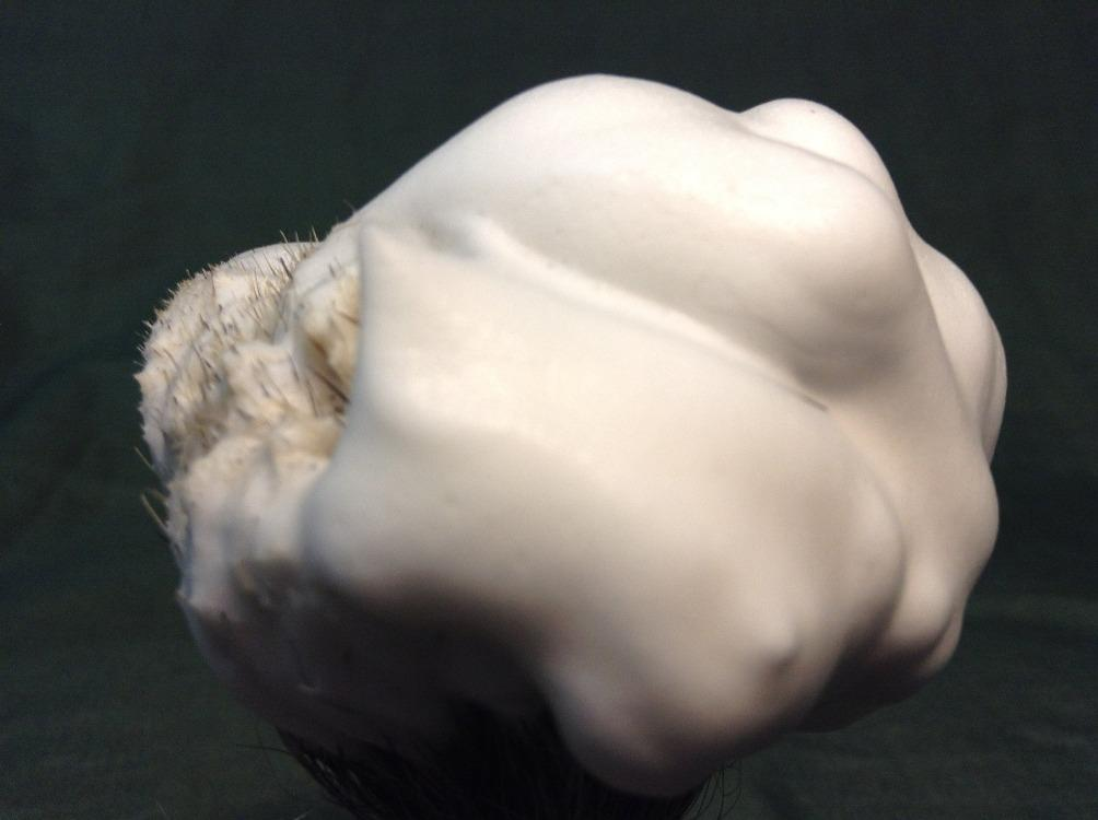 Foamy shave soap on brush.