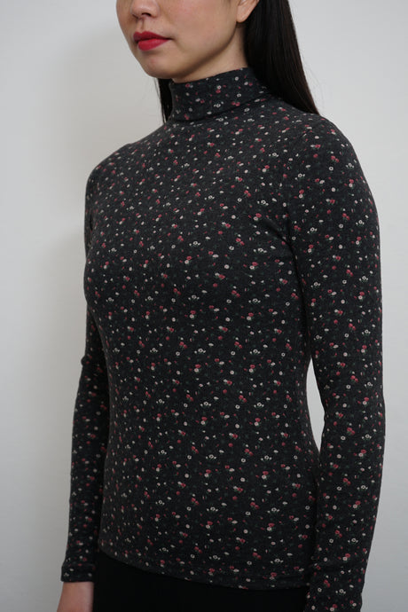 Flower Turtleneck Top Black