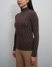 Load image into Gallery viewer, Flower Turtleneck Top Brown