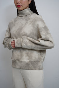 Tie Dye Turtleneck Sweatshirt Beige