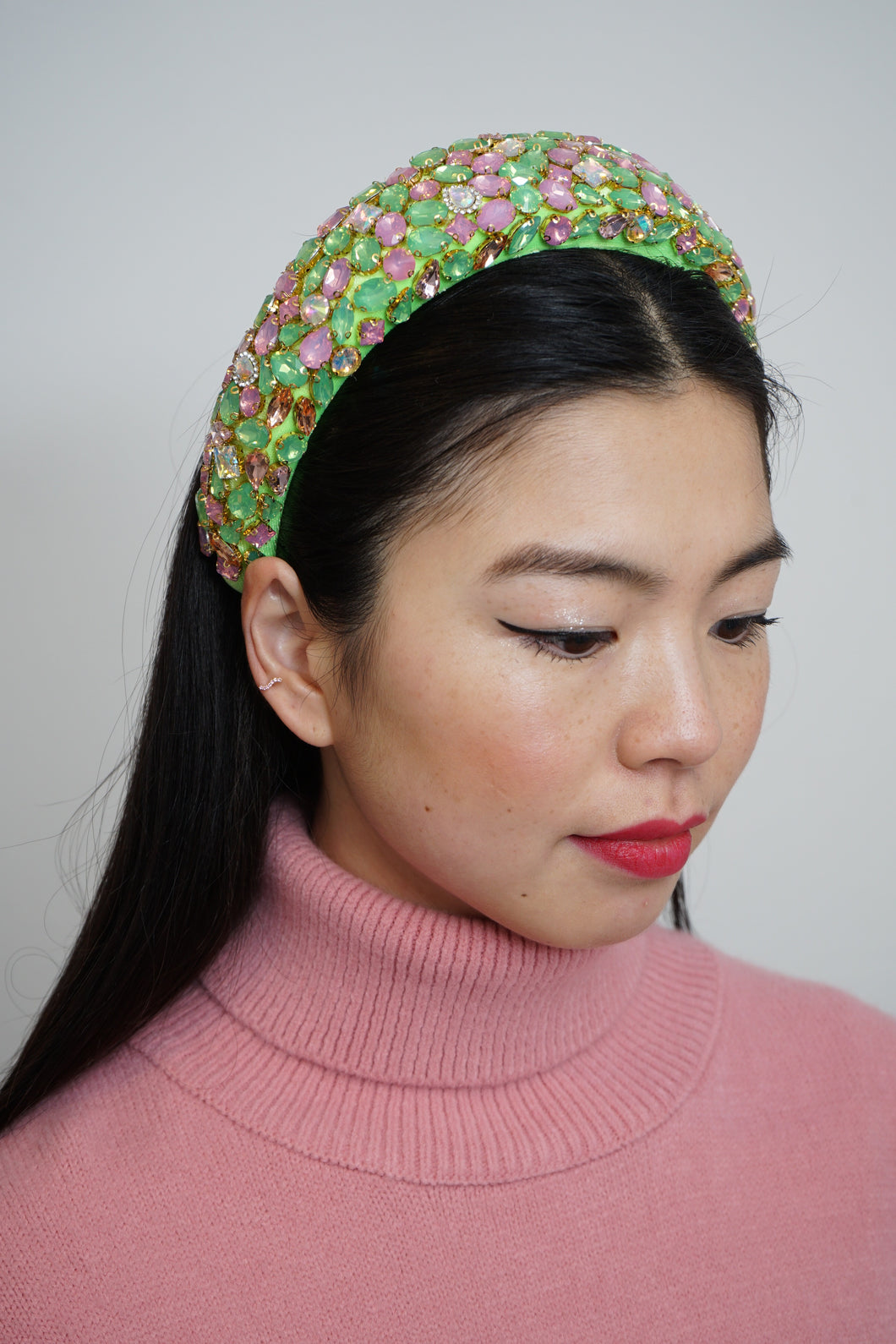 Padded Hairband With Crystal Green