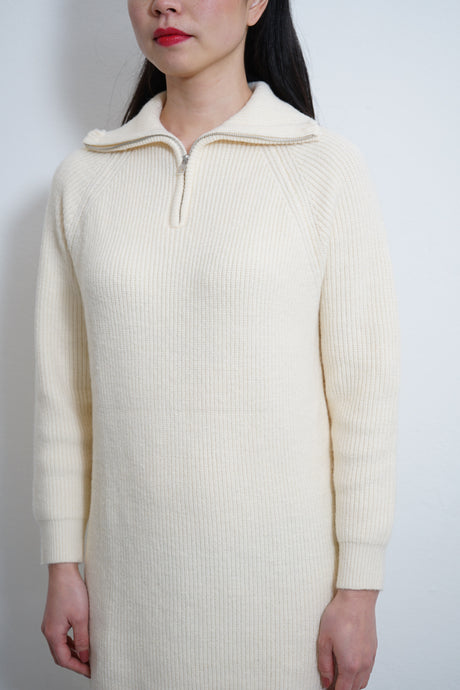 Zip Neck Knit Dress Ivory