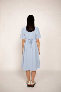 Cotton Button-up Dress Sky blue