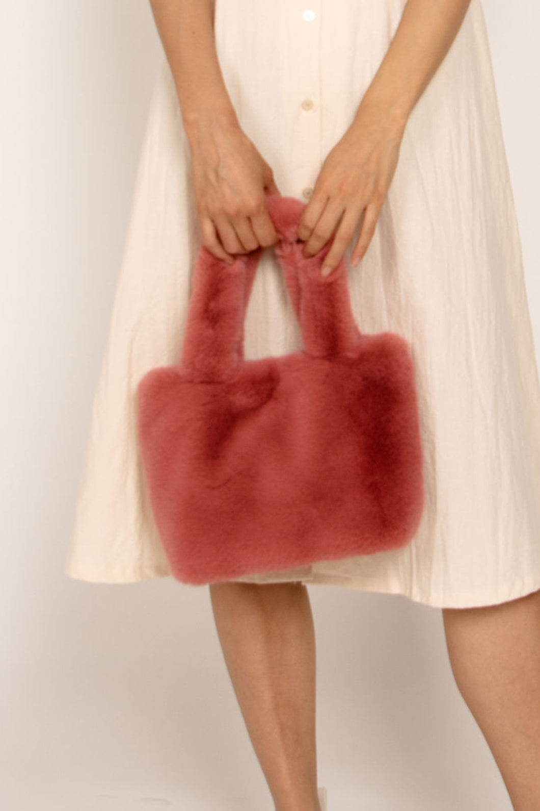 Faux Fur Hand Bag Nude Rose