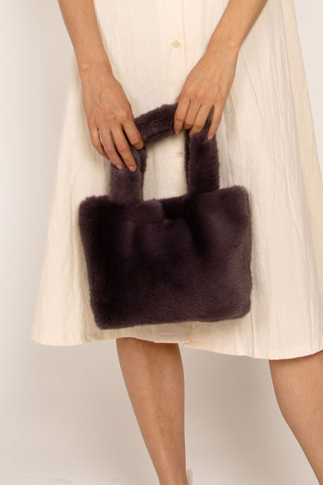 Faux Fur Hand Bag Grey