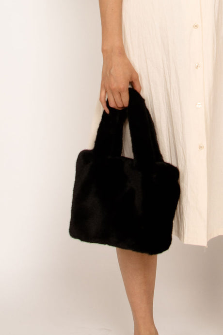 Faux Fur Hand bag Black