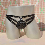 Sexy Mens Faux Leather Straps Studded Thong - Asian Fanmale