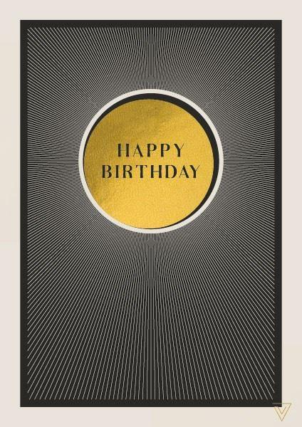 Happy Birthday Gold Circle Card