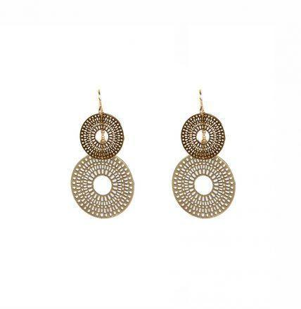 Double Sun Disc Earrings