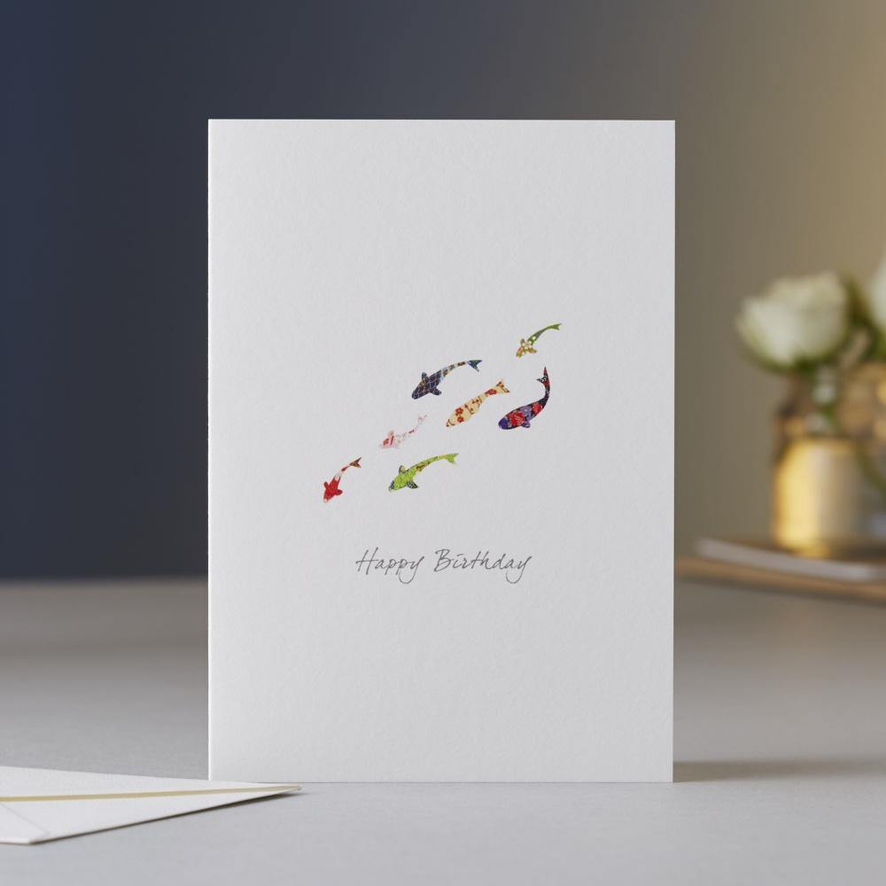 Koi Carp Drift Birthday Card