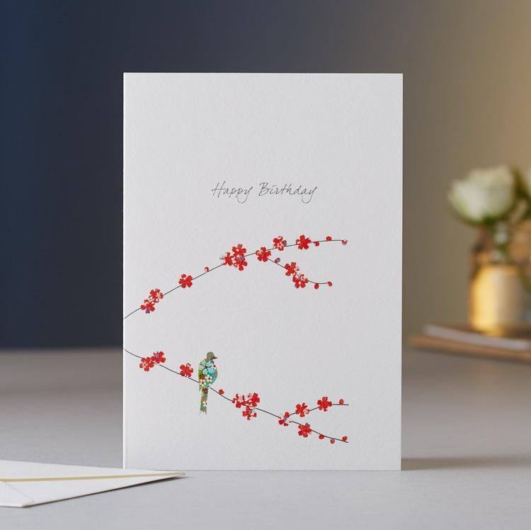 Blossom & One Bird Birthday Card
