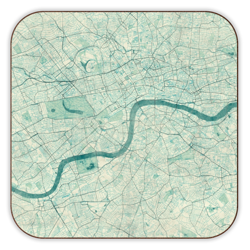 London Map Coaster - Blue Vintage