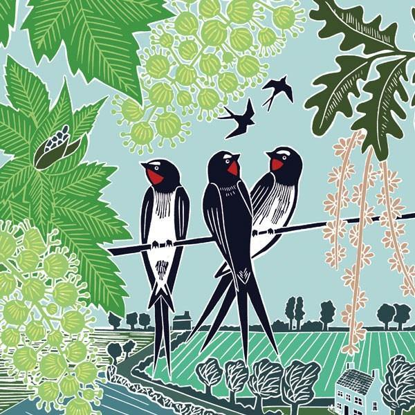 Swallows on a Line Card - Pretty Shiny Shop