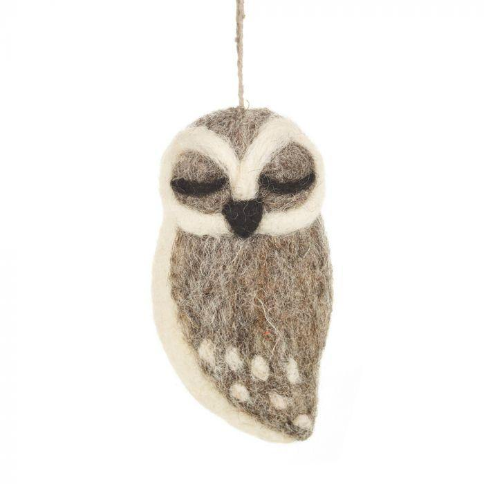 Grey Owl Felt Decoration - Pretty Shiny Shop