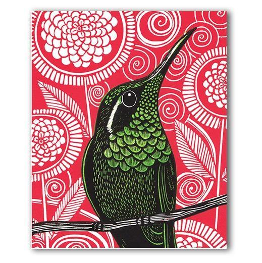 Green Hummingbird Card - Pretty Shiny Shop