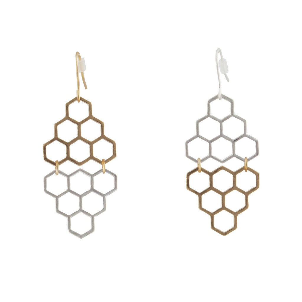 Two-tone Honeycomb Drop Earrings