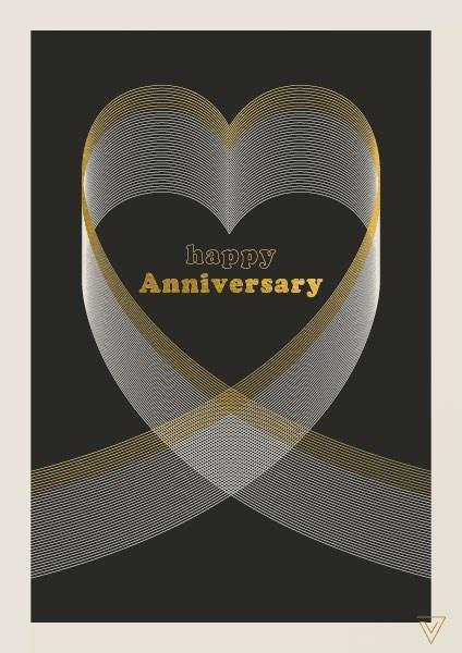 Gold and Black Happy Anniversary Card - Pretty Shiny Shop