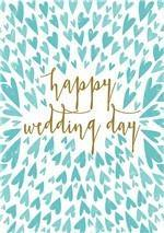 Blue Hearts Happy Wedding Day Card