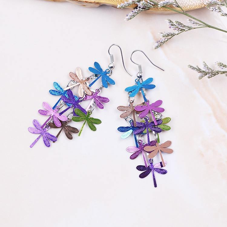 Dragonfly Shimy Earrings - Multi