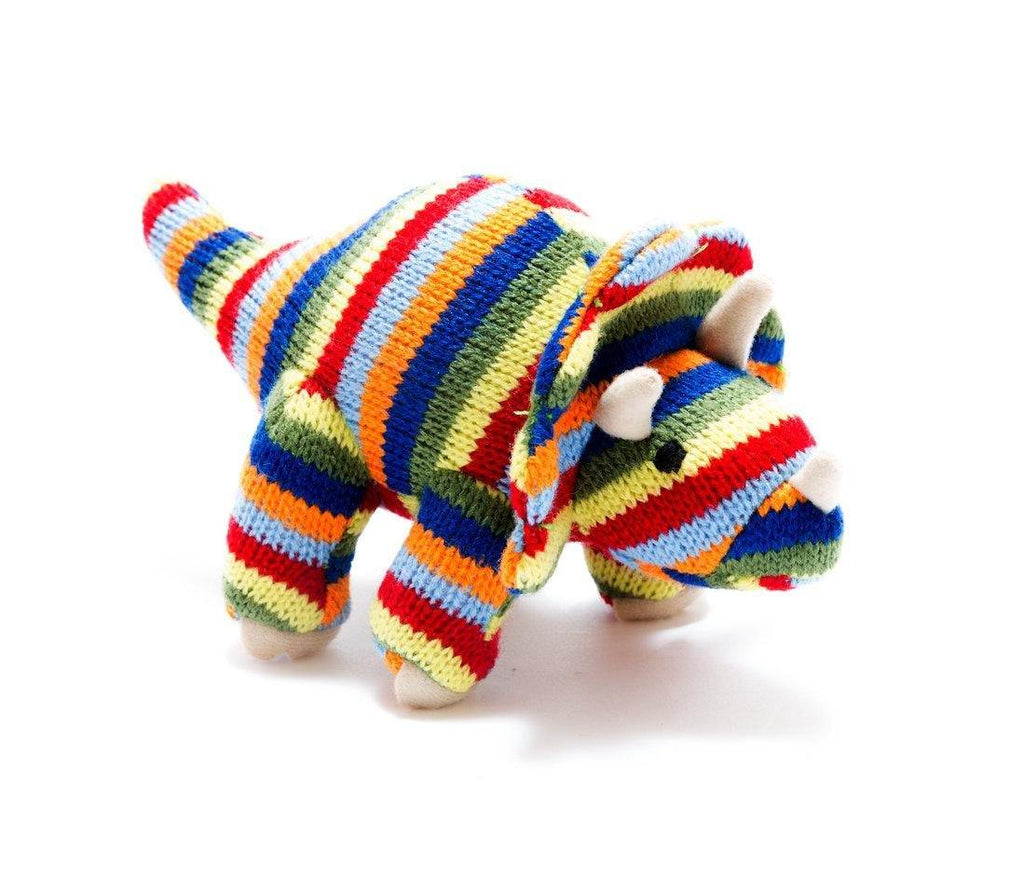 Striped Triceratops Knitted Rattle