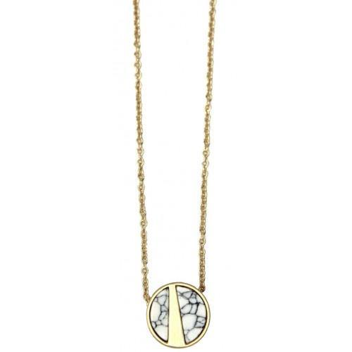 Division Disc Necklace - White - Pretty Shiny Shop